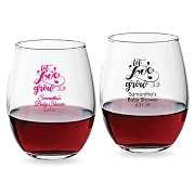 Let Love Grow Personalized Stemless Wine Glasses (9 oz or 15 oz)