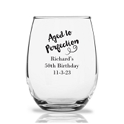 Personalized Stemless Wine Glasses 9 Oz - Aged To Perfection