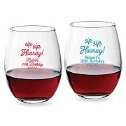 Sip Sip Hooray Personalized Stemless Wine Glasses (9 oz or 15 oz)
