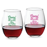 Cheers Mr & Mrs Personalized Stemless Wine Glasses (9 oz or 15 oz)
