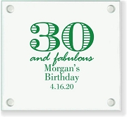 30 and Fabulous Personalized Glass Coaster