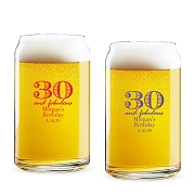 30 and Fabulous Personalized 16 oz Beer Can Glass