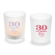30 and Fabulous Personalized Frosted Glass Votive Candle Holder