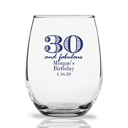 30 and Fabulous Personalized 9 oz Stemless Wine Glass