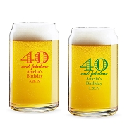 40 and Fabulous Personalized 16 oz Beer Can Glass