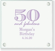 50 and Fabulous Personalized Glass Coaster