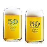 50 and Fabulous Personalized 16 oz Beer Can Glass