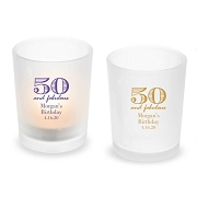 50 and Fabulous Personalized Frosted Glass Votive