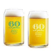 60 and Fabulous Personalized 16 oz Beer Can Glass