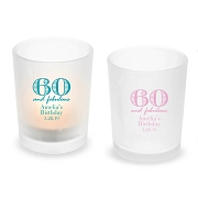 60 and Fabulous Personalized Frosted Glass Votive