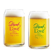 Drunk In Love Script Personalized 16 oz Beer Can Glass