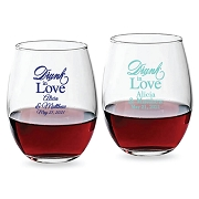 Drunk In Love Script Personalized Stemless Wine Glass (9 oz or 15 oz)