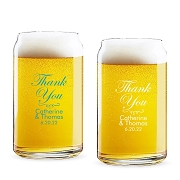 Thank You Personalized 16 oz Beer Can Glass