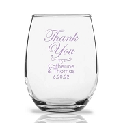 Thank You Personalized 9 oz Stemless Wine Glass