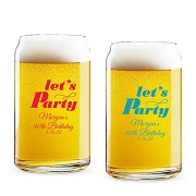 Let's Party Personalized 16 oz Beer Can Glass