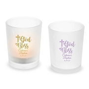 God Bless Personalized Frosted Glass Votive and Tealight Holder