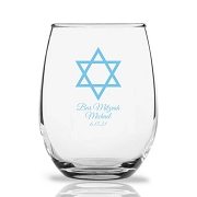 Star of David Personalized 9 oz Stemless Wine Glass