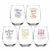Popular Stemless Wedding Wine Glass Wedding Favors (9 oz or 15 oz)