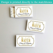 Personalized The Perfect Match Gold Frame White Matchboxes (Set of 50)