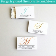 Personalized Regal Monogram White Matchboxes (Set of 50)