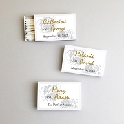 Personalized Wedding Matchboxes - Silver Rose (Set of 50)