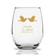 Kissing Doves Personalized Stemless Wine Glass (9 oz)