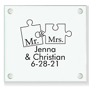 Missing Piece Personalized Wedding Coasters