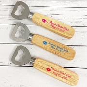 Lip Kiss Personalized Wood Handle Bottle Opener