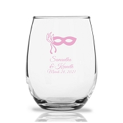 Masquerade Mask Personalized Stemless Wine Glass (9 oz)