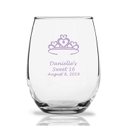 Heart Crown Personalized Stemless Wine Glass (9 oz)