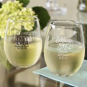 Personalized 15 Oz Wedding Words Stemless Wine Glasses