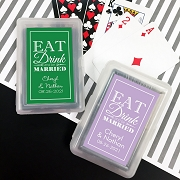 Playing Cards with Personalized Stickers - Eat Drink and be Married
