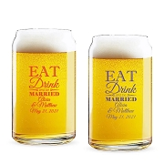 Eat Drink and Be Married Personalized 16 oz Beer Can Glass