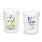 Eat Drink and Be Married Personalized Frosted Glass Votive