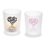 All You Need Is Love Personalized Frosted Glass Votive