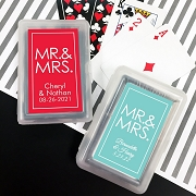 Mr and Mrs Block Playing Cards with Personalized Stickers