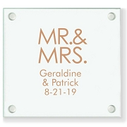 Mr & Mrs Personalized Wedding Coasters - Block Font Style