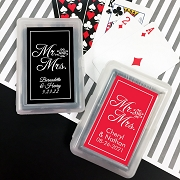 Playing Cards with Personalized Stickers - Mr and Mrs Script