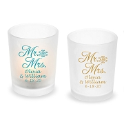 Mr. & Mrs. Script Personalized Frosted Glass Votive