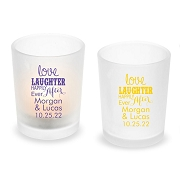 Love Laughter Happily Ever After Personalized Frosted Glass Votive