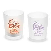 We Tied the Knot Personalized Frosted Glass Votive