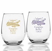 Happy Retirement Personalized Stemless Wine Glasses (9 oz or 15 oz)