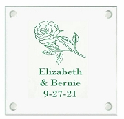 Romantic Rose Personalized Wedding Coasters