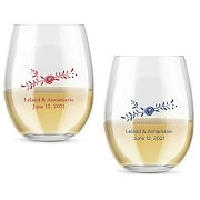Rustic Flower Personalized Stemless Wine Glasses (9 oz or 15 oz)