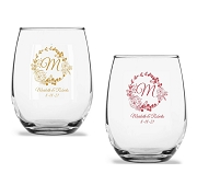 Rustic Wreath Personalized Stemless Wine Glass (9 oz or 15 oz)