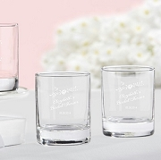 Rustic Flower Bridal Personalized Shot Glass Favors (3.5 oz)