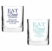 Eat Drink and Celebrate Personalized Shot Glass Votive Candle Holders (2 oz)