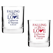 Falling In Love Personalized Shot Glass Votive Candle Holders (2 oz)
