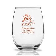 Personalized Stemless Wine Glasses 9 Oz - A Love Story