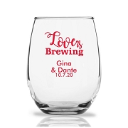 Personalized Stemless Wine Glasses 9 Oz - Love Is Brewing